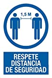 akrocard - Cartel Resistente PVC - RESPETE DISTANCIA DE SEGURIDAD - Señaletica COVID 19 medidas basicas de seguridad- señal Ideal para comercios, tiendas, locales