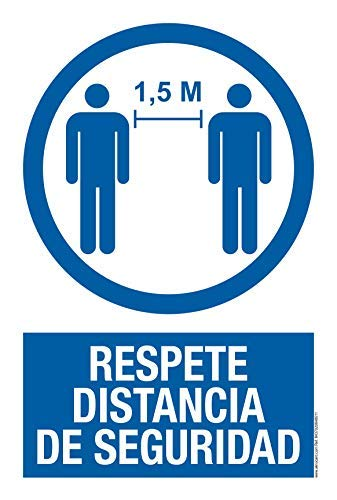 akrocard - Cartel Resistente PVC - RESPETE DISTANCIA DE SEGURIDAD - Señaletica COVID 19...