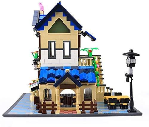Kit de modelo de casa de campo francesa, bloque de diamantes con vista de la calle de la ciudad en 3D, mini juguetes de bricolaje el edificio educativo para niños. blue,5311