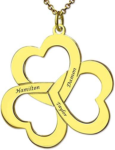 Collar YCHZX de plata de ley 925 con tres personalización de joyas de amor talladas en forma de corazón, adecuado para madres y parejas como regalo 22.0 Chapado en oro