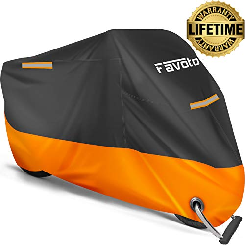 Favoto Motorcycle Cover All Season Universal Weather 210D Material Waterproof Windproof Outdoor Durable Reflective Stripe with LockHoles amp Storage Bag Vehicle Cover 965 inch
