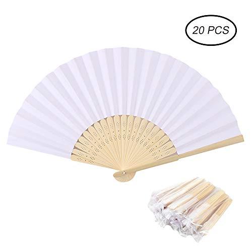 Hggzeg ventagli di Carta Pieghevoli in bambù, con Sacchetti Regalo, per Feste di Nozze e Decorazioni Fai da Te, 20 Pezzi, Bianco