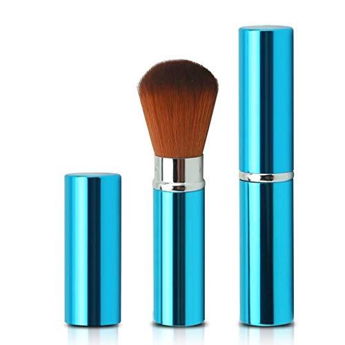 Pinceau de Maquillage extérieur Accueil Portable Multi-Fonction élastique Souple en Fibre de Coton Poudre Fard à Joues Mini Outils de beauté (Color : Blue)