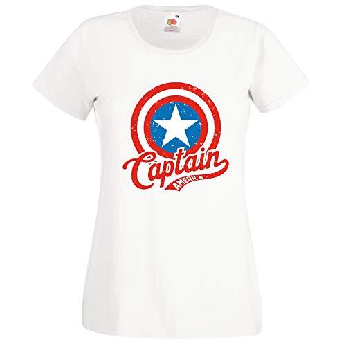 Donna T-Shirt Maglietta Motivo America Captain - Bianco XL