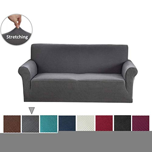 Argstar Jacquard XL Sofa Slipcover, Gray Stretch Oversized Couch Slip Cover, Spandex Furniture Protector for Large 3 Cushion Seater Living Room, Machine Washable