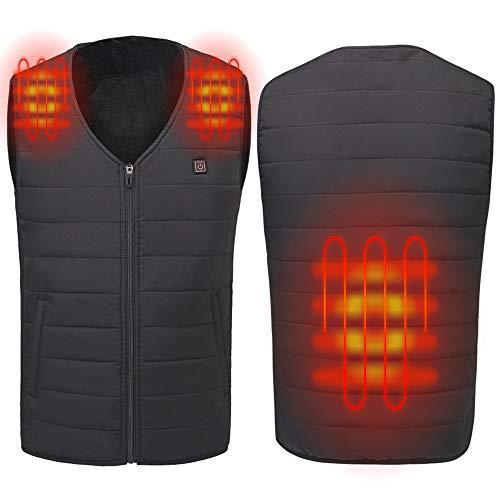 Sidiou Group Einstellbare USB Elektrisch Beheizte Weste Temperatur Heizung Kleidung Daunenjacke Weste Warme Leicht Daunenweste für Herren und Mujer (Schwarz, Small)