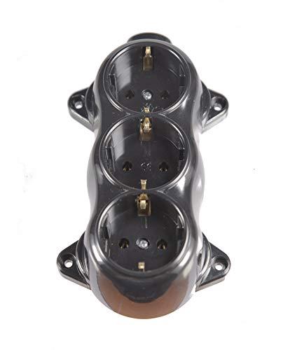 Aufputz Vintage Steckdose Lichtschalter Rund Retro Schalter Wechselschalter Serienschalter (3-fach Schwarz)