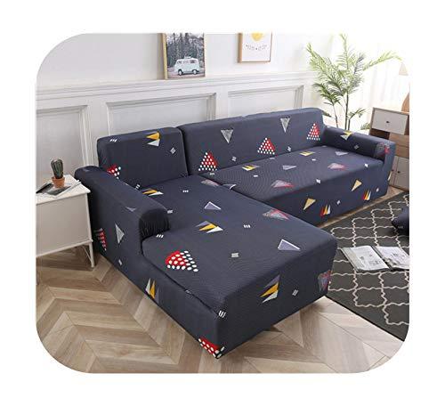 Funda de sofá geométrica de 1/2 piezas, funda elástica para sofá esquinero seccional en forma de L-Color 7-2-Seat 145-185 cm