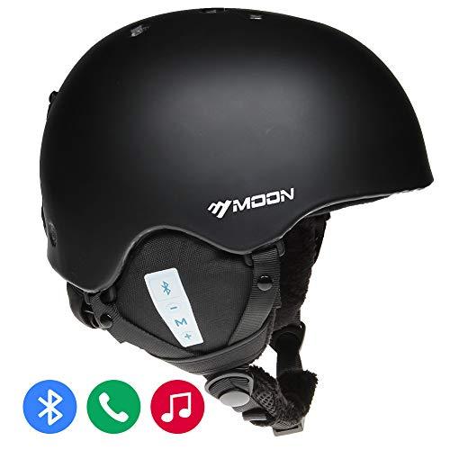 MOON Ski Helmets Bluetooth Snowboard Helmets (Black, M)