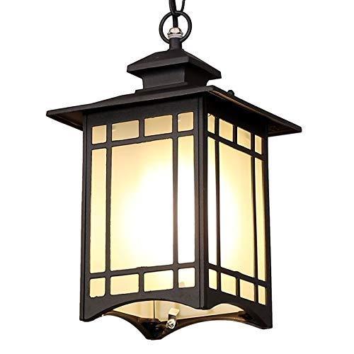 Aaedrag Pérgola Jardín Patio Araña Iluminación Linterna de vidrio E27 Personalidad Impermeable En forma de casa Lámpara de techo de techo Lámpara cuadrada tradicional Hierro Colgante de metal Colgante