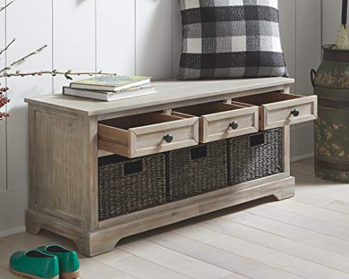 Signature Design by Ashley Oslember Farmhouse Storage Bench with Drawers and 3 Removable Baskets, Brown