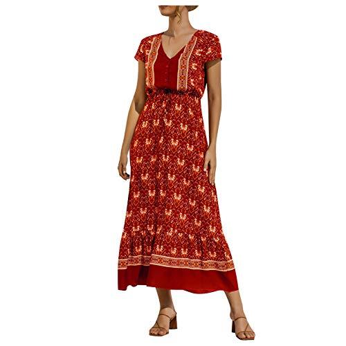 Liably Women's spaghetti strap bandage sleeveless dress, summer casual Hawaiian beach style, knee-length, high waist dress, colour contrast design - Red - Medium