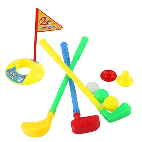 sharprepublic Kinder Minigolf-Spiel, inkl. 3 Golfschläger, 3 Bälle, 1 Loch, 2 Tee, Kindergolf Mini-Golf Indoor Outdoor