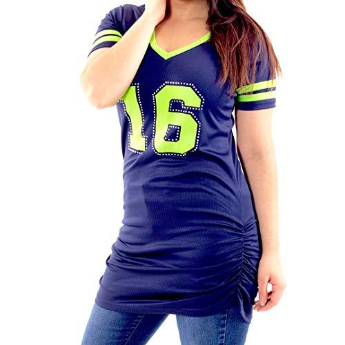 Lady 12 #16 Seattle Fußballtrikot Kleid, Lime & Navy, Small