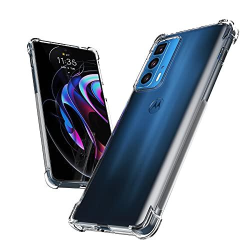 Cresee Compatible con Motorola Edge 20 Pro, funda transparente con esquinas reforzadas, funda protectora fina, suave, antigolpes para Moto Edge 20 Pro, transparente