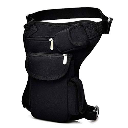 Bigood Homme Multifonction Sac de Cuisse Ajustable Sport en Plein Air Toile Noir