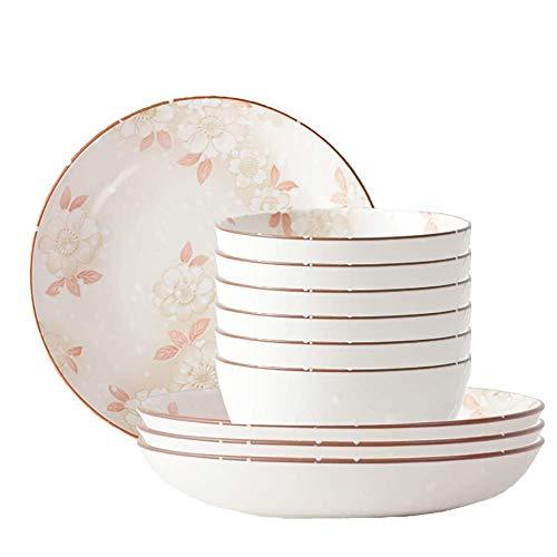 CCAN Juego de vajilla Fina, 10 Piezas de cerámica Juego de Cena con Copo de Nieve Esmaltado Artesanal Que Incluye 6 tazones de 4.5