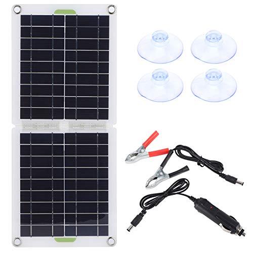 Panel solar Aramox, panel solar plegable universal de 30 W, cargador de energía portátil tipo C para coche, RV, yate o en casa