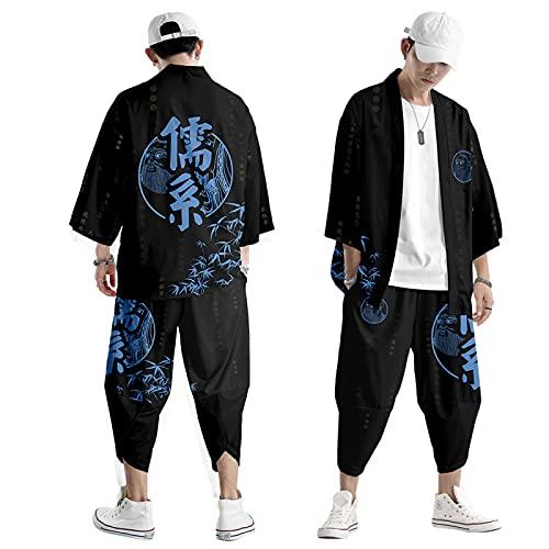 curtain Uomo Kimono Camicia Giacca - Vestiti Tradizionali Zen in Stile Giapponese Mantello Stampato alla Moda Pantaloni Harem Casual Primavera Estate S-6XL Oversize,Black-5XL