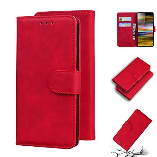 SATURCASE Sony Xperia 10 Hülle, Komfortable Berührung PU Lederhülle Magnetverschluss Brieftasche Kartenfächer Standfunktion Handy Tasche Schutzhülle Handyhülle Hülle für Sony Xperia 10 (Rot)