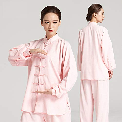 GUIOB Artes marciales Taekwondo Uniformes Tai Chi Kung Fu Ropa Hombres Mujeres Zen Meditacin Traje, Rosa-L