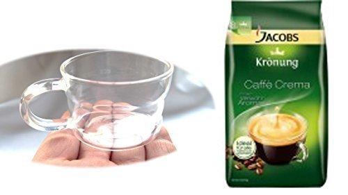 Jacobs Krönung Crema ganze Bohnen + Design Glastasse, Kaffeetasse, Kaffee, Tasse, Glas, Espresso 100ml, 4er Pack im Geschenk Karton