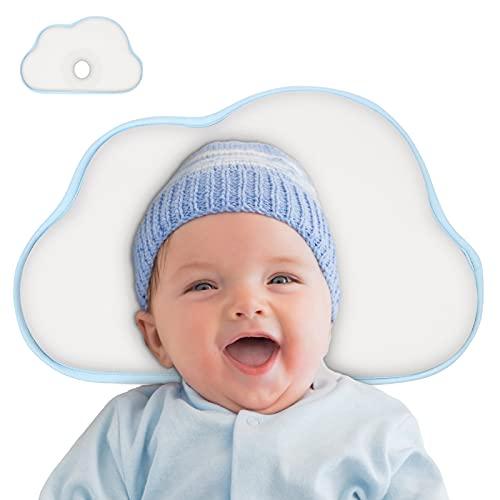 Vicloon Babykissen, Babykopfkissen zur Heilung und Vorsorge der Plagiozephalie, Kissen Säugling Neugeborene, Plattkopf Babykissen, Baby Memory Schaum Kissen, 0-12 Monate - Weiß