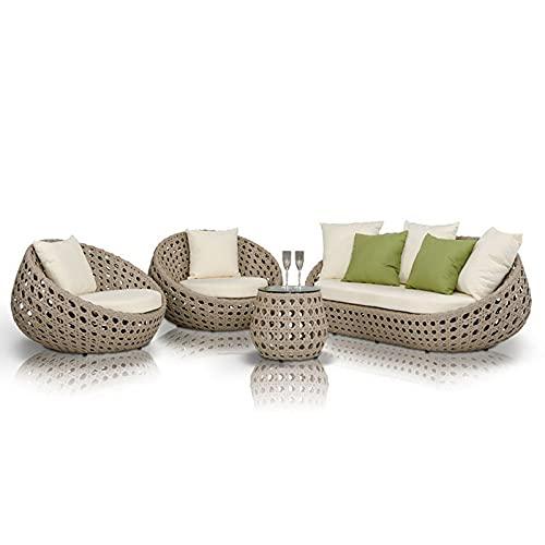IHZ Sofá de ratán con combinación de Muebles para Exteriores, Juego de sillas de ratán para jardín, sofá de ratán Impermeable y a Prueba de Sol para Exteriores(Size:B)