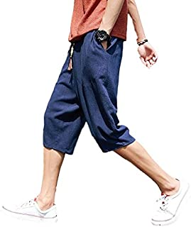 [フォーリーフ] メンズ おしゃれ 涼しく ラクちん ハーフパンツ カジュアル イージーパンツ クロップド カラフル紐 ポケット ゆったり 麻