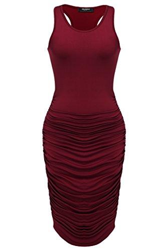 Zeagoo Women's Summer Sexy Sleeveless Sundress Fold Bodycon Tank Dress,Wine Red,Medium
