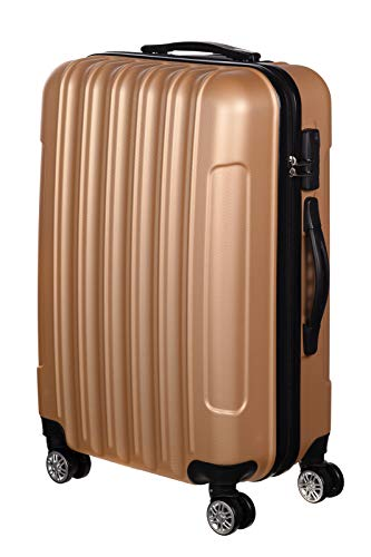 Birendy 35004 Reisekoffer Polycarbonat Hartschalen Hardcase Trolley mit Zahlenschloss Koffer Kofferset 4 Rollen einfacher Transport (Champagner, Koffer XXL...