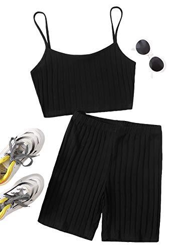 Floerns Women's 2 Piece Rib Knit Crop Cami Top with Biker Shorts Sport Yoga Sets Black S