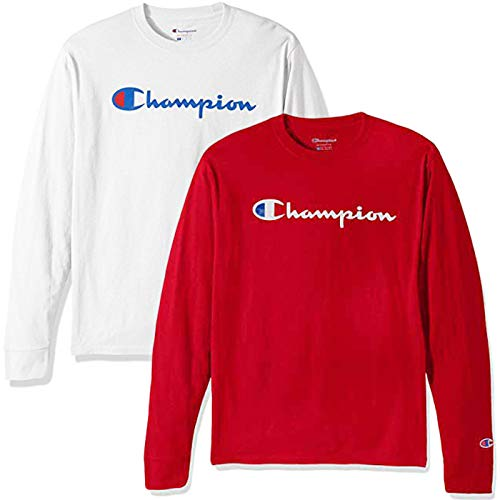 Champion Men's Classic Jersey Script T-Shirt, Long Sleeve-2 Pack (White and Red LS, Small)