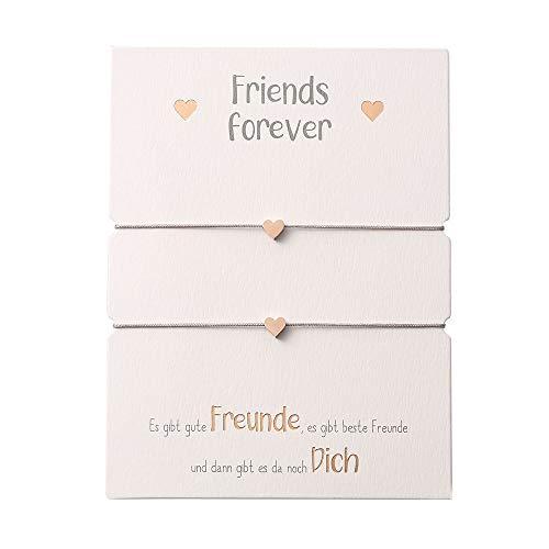 HCA Zwei Freundschaftsarmbänder mit Charm - Herz - rosévergoldet