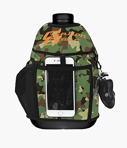 Gallon Gear 1 Gallon Large Water Bottle - BPA Free Plastic, Reusable Water Jug - Hydration Water Bottle for Men and Women - Gym, Sports, Training & Fitness (Black w/ Green Camo Cover)