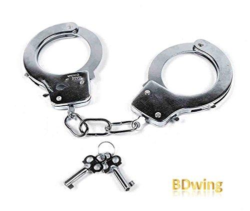 Bdwing - Metall Handschellen mit Schlüsseln. Party Favors für Police Swat Rollenspiele. Kinder Spielen Spielzeug Metall Handschellen - Party Supplies Kostümzubehör (Silber)