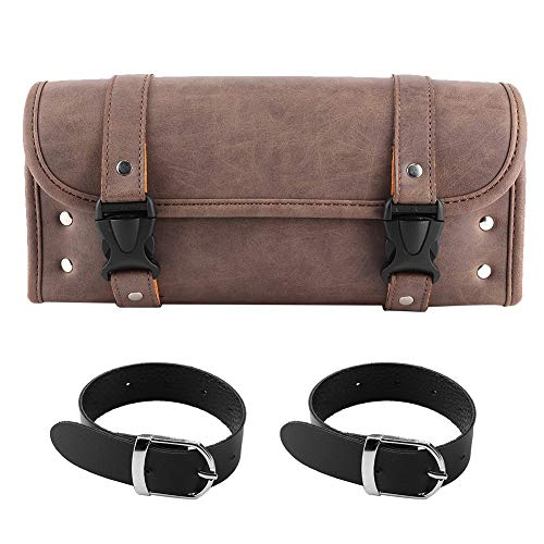 Yctze Vintage PU Leather Side Saddle Bags Tool Storage Pouch Brown Color Universal for Motorcycle