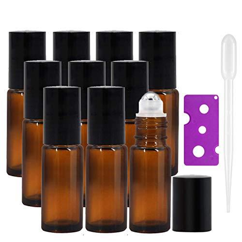 JamHooDirect - Botellas de rodillo de vidrio ámbar rellenables con bolas de acero inoxidable (10 unidades, 1 abrebotellas y 12 etiquetas)