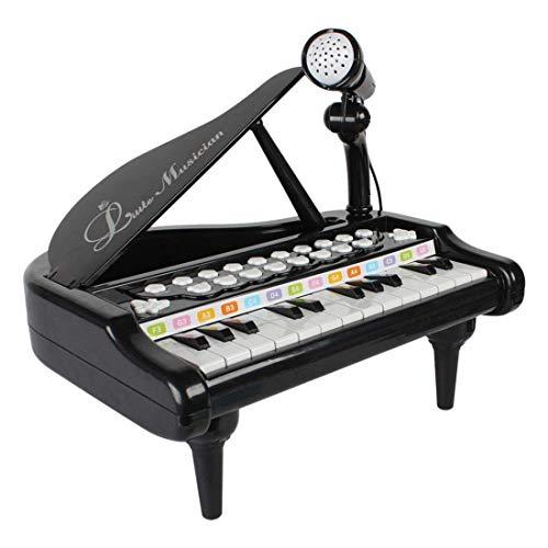Dirgee Kinder 24 Schlüssel Klavier Mini Musik Geschenk Kinder Musikinstrument Spielzeug Set mit Mikrofon for Kinder Geschenke - Schwarz Rosa (Farbe: Schwarz) (Color : Black)