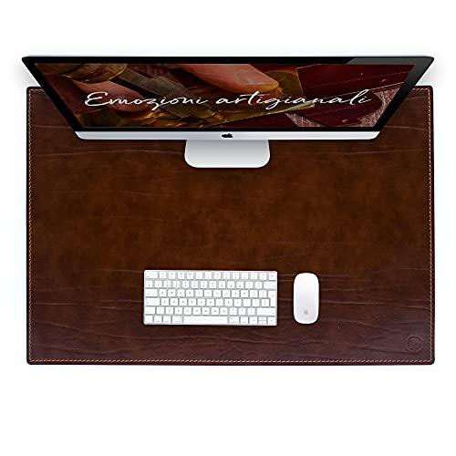 Vade de escritorio para escritorio de oficina y alfombrilla para ordenador portátil, de piel artesanal – 90 x 60 cm – Fabricado en Italia   FP piel – Dante (marrón)
