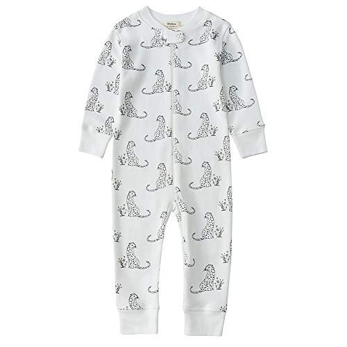 Owlivia Organic Cotton Baby Boy Girl Zip Up Sleep N Play, Footless, Long Sleeve(12-18 Months, Leopard)