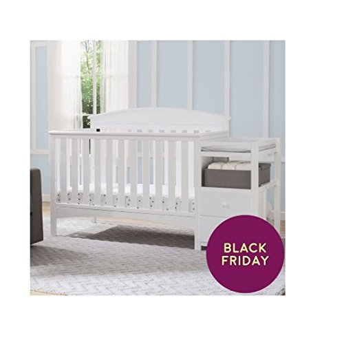 Delta Children Abby Convertible Crib and Changer, Bianca White