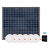 SIPLCN 50W Solar LED Skylight (Round 4.7'', 6 pcs) with Radar Sensor and Remote Control, Smart Day Night Lighting by Sun & AC Backup, Dimmable Flush Mount Ceiling LED Light Kits