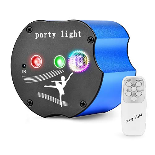 Hemucun Party Lights, Mini Portable DJ Disco Stage Laser Light with Remote Control Sound Activated, LED Projector RGB 3 Lens 48 Patterns for Dance Christmas Birthday Gift Show Home Decoration (BLUE)