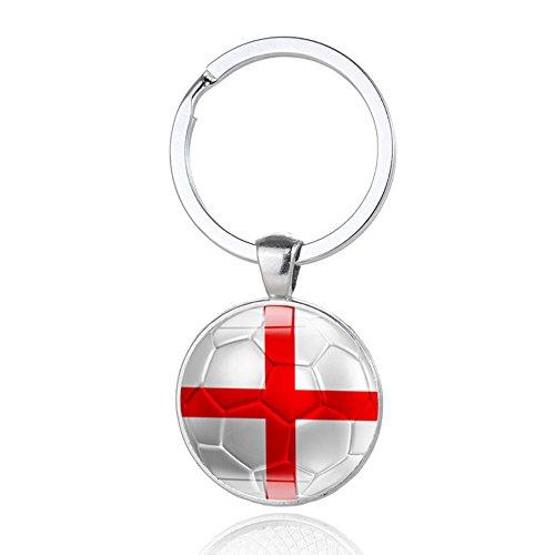 TRIXES Porte-clés rond St George en métal avec croix blanche et rouge