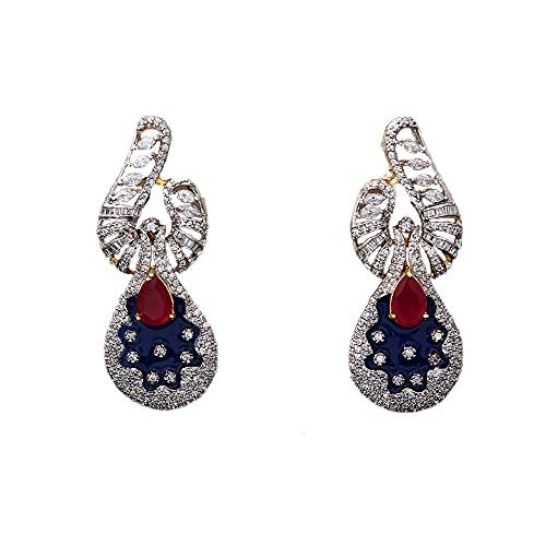 Jewelryonclick Pendientes colgantes con circonita cúbica para mujer, diseño de lágrimas Chandbali, chapado en oro de 14 quilates, para niñas, joyería tradicional, Gema, zirconio cúbico,