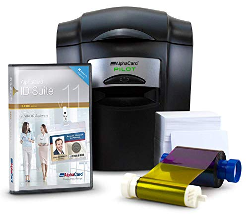 Complete AlphaCard ID Card Printer Bundle: AlphaCard Pilot ID Printer, AlphaCard ID Software, ID Supplies-Pilot Printer