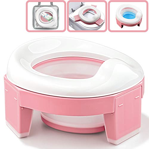 Portable Potty Seat for Toddler, Travel Potty Chair Foldable Training Toilet for Kids Baby Girls with 20 Count Potty Liners Refill Disposable Bags and Storage Bag by TYRY.HU (Pink)