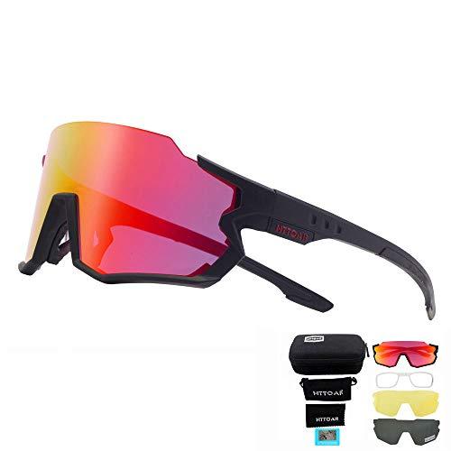HTTOAR Gafas de Sol Deportivas polarizadas Ciclismo para Hombres y Mujeres Correr Pesca Golf TR90 Marco Protección UV400 (Negro Rojo)