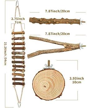 Woiworco Lot de 4 perchoirs à oiseaux, accessoires de cage à oiseaux, support en bois naturel, tige en bois, plateforme en bois, échelle pour perroquet, perruche calopsitte